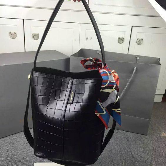 6b4b742c88ec 2016 Spring Summer Mulberry Small Kite Tote Bag in Black Deep Embossed Croc  Print Leather