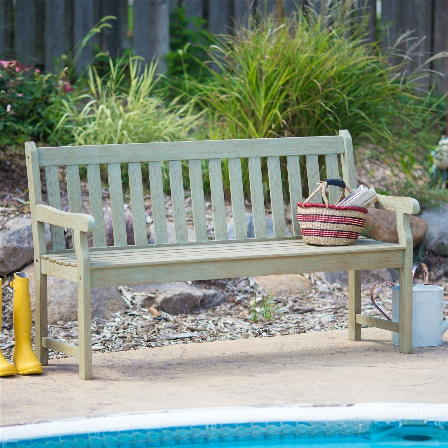 Weather Resistant Outdoor Wood 5 Ft Garden Bench In Driftwood Finish