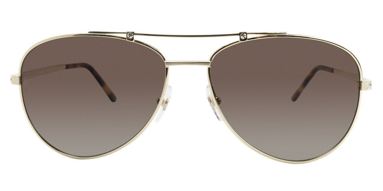 a8eb9a950873 Buy this authentic ESW00132 Cartier Santos Brushed Golden Metal BRN Lenses Men  Sunglasses On Sale at
