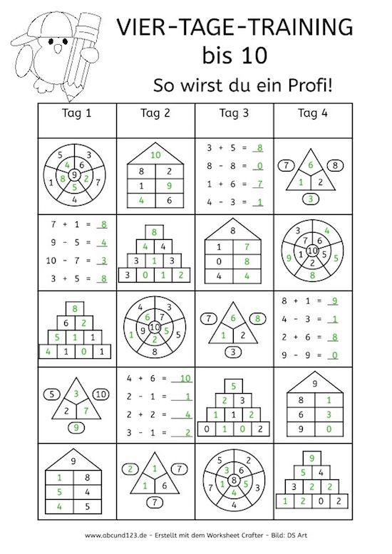 Vier-Tage-Mathe-Training (Zahlenraum bis 10) - | Maths, School and ...