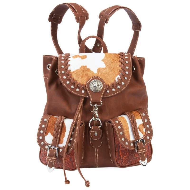 Backpack Purse Western Style Faux Leather Cowhide Brown | Casual ...