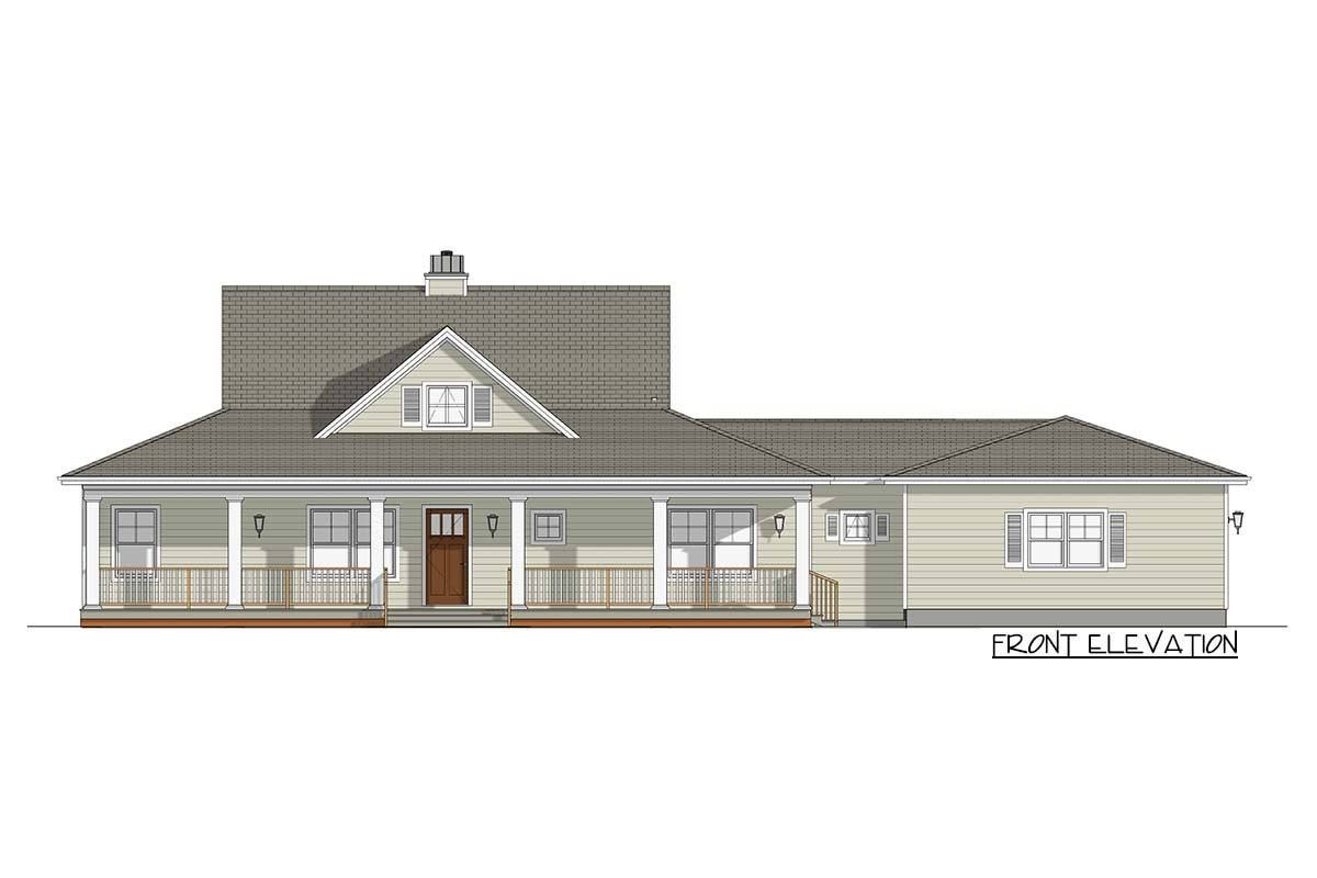 Plan 28917jj Country House Plan With 52 Wide Porches Front And Back Country House Plan House Plans Ranch House Plans