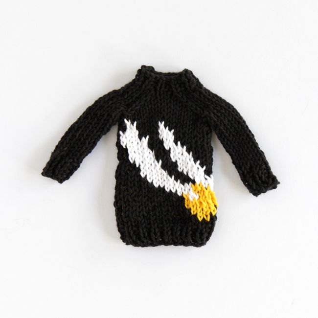 A free knitting pattern for a mini golden snitch sweater, inspired ...
