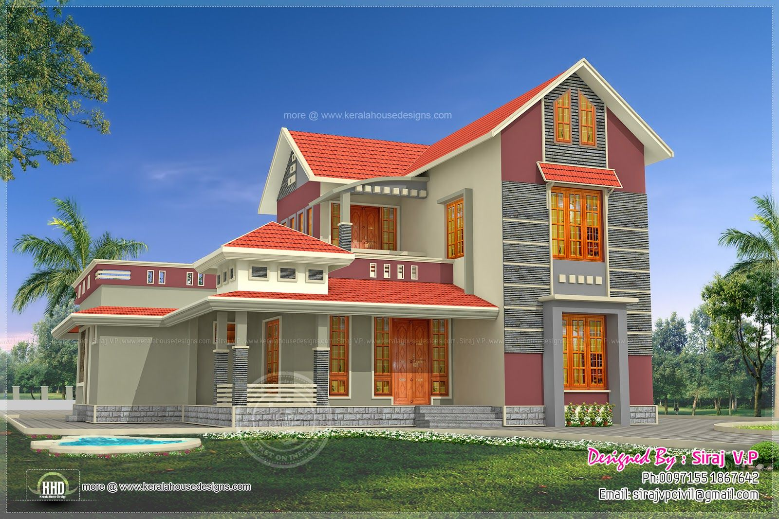 Beautiful 4 bedroom villa elevation in 2000 sq ft indian for Indian villa designs exterior photos