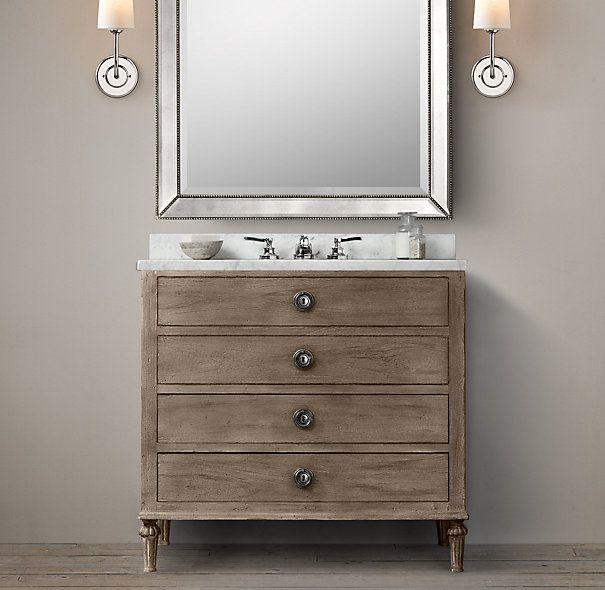 Maison single vanity sink bathroom 910 600 860 klc project 1 - Restoration hardware bathroom cabinets ...