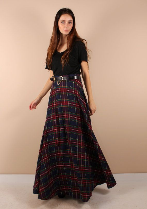 a695843fe3 Vintage 70s // plaid maxi skirt // super long and flowy // xsmall ...