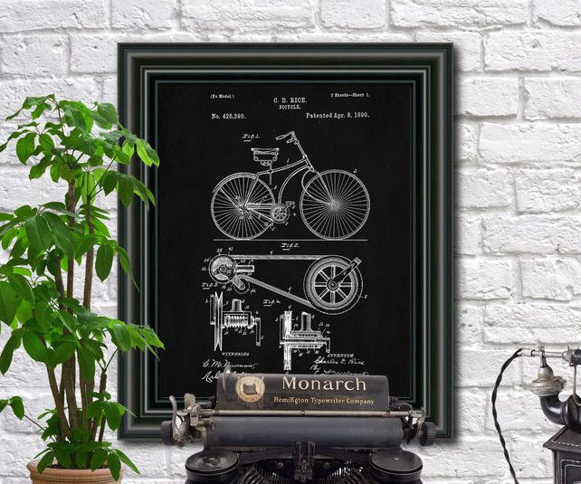 Bicycle patent print cycling blueprint cyclist art poster 1725 bicycle patent print cycling blueprint cyclist art poster 1725 malvernweather Images