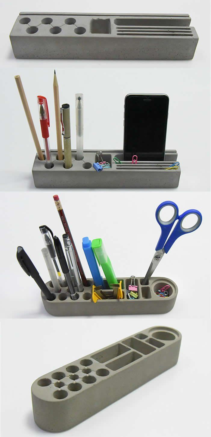 Concrete Art Office Desk Stationery Organizer Phone Holder Stand Paper Clip Collection Pen Pencil