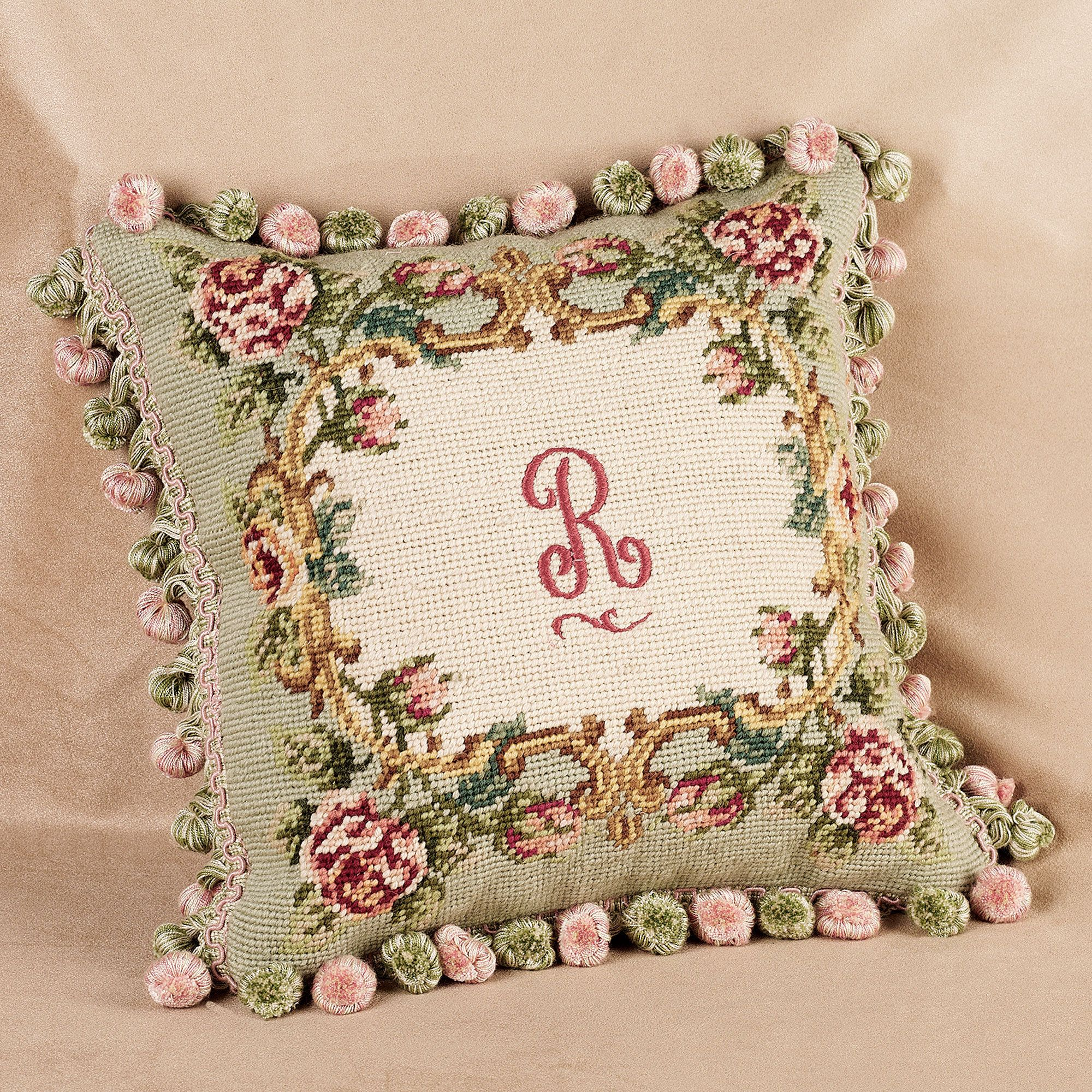 Rose Monogram Needlepoint Pillow