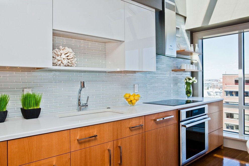 Clear Glass Tile Backsplash Kitchen Contemporary With Birch