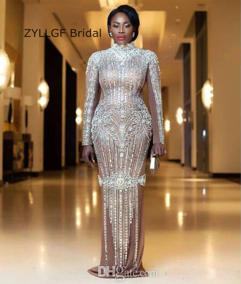 24e286e3a42 ZYLLGF Bridal Sexy See Through Mermaid Luxury Evening Dress Long Sleeve  Crystal Beaded Formal Evening Gown Handmade SA263-in Evening Dresses from  Weddings ...