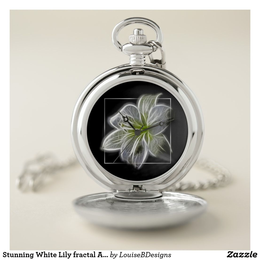 1d4e3511f Stunning White Lily fractal Art Pocket Watch | Zazzle.com | Elegant ...