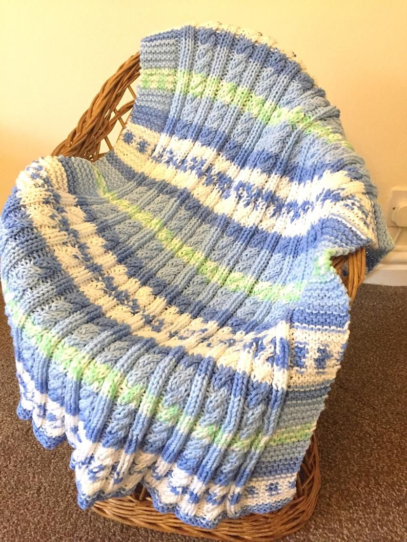 Aran Cable Baby Blanket Knitting pattern (With images