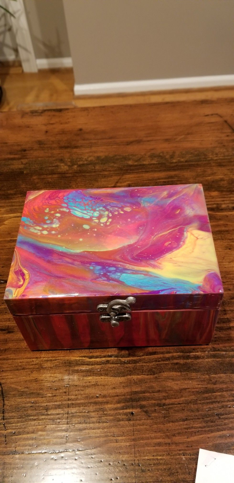 Acrylic Pour Wood Jewelry Box Painted Jewelry Boxes Pouring