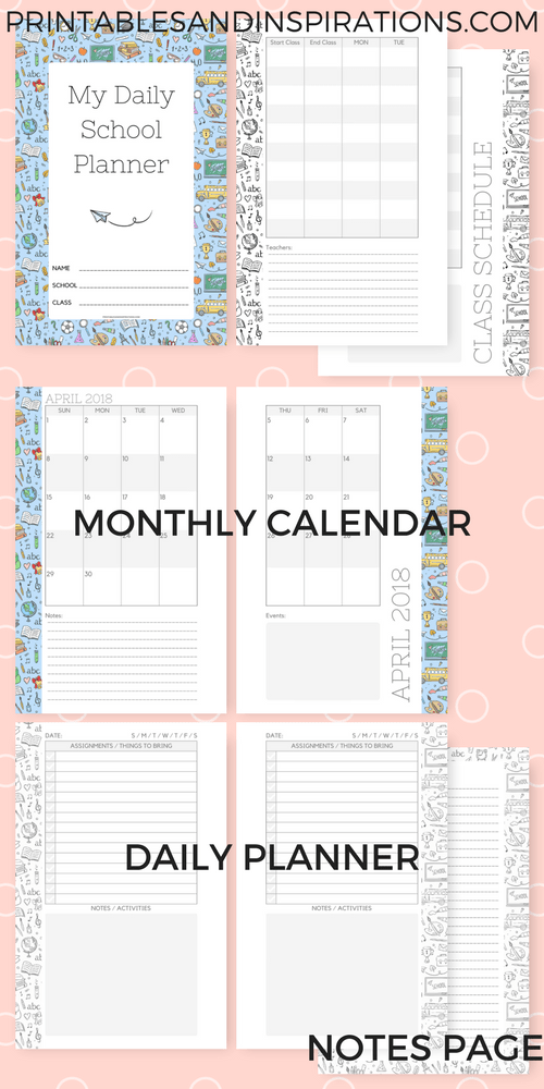 daily school planner for kids free printable printables