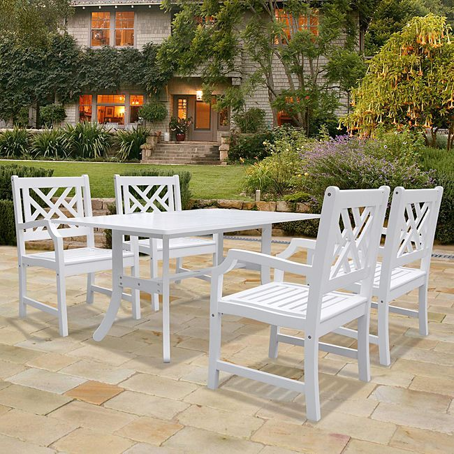 Vifah Bradley Rectangular Table and Arm Chair Outdoor Wood Dining Set (Outdoor Furniture), White, Size 5-Piece Sets, Patio Furniture