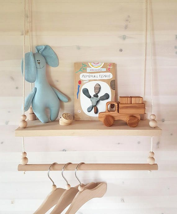 Wooden Swing Shelf Hanging Rack Kids Clothes Rack Nursery Decor Swing Shelf Balancoire Bois Pendaison De Cremaillere Balancoire Bebe