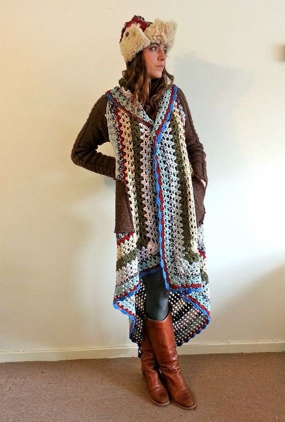 Upcycled Recycled Crochet Blanket Cardigan Coat Made in England UK ...