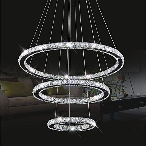 Kristall Deckenleuchte, TOPMAX LED Pendelleuchte 30*50*70cm 3 Ringe  Kristall Chrom Kaltweiß