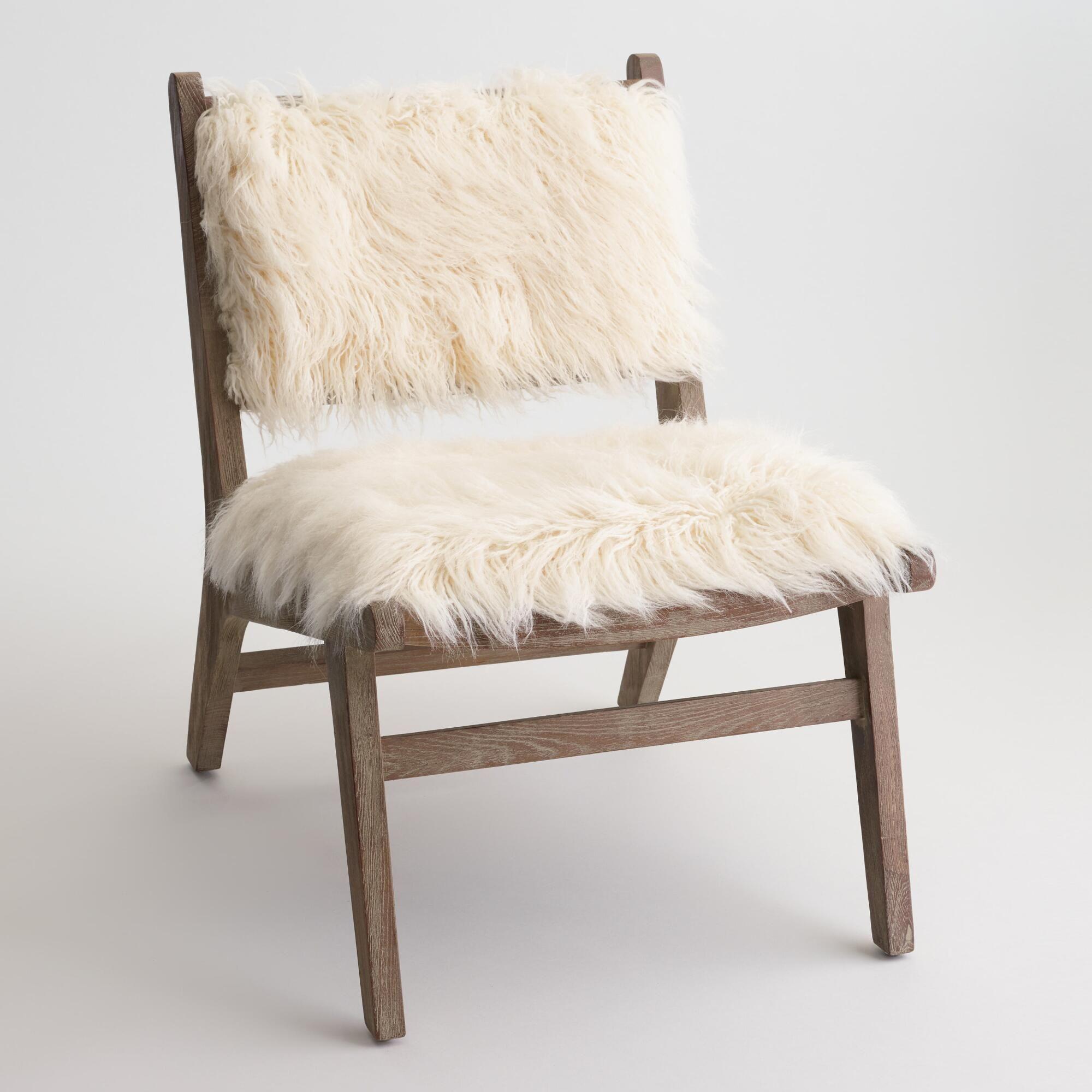 Ivory Faux Flokati Gunnar Chair