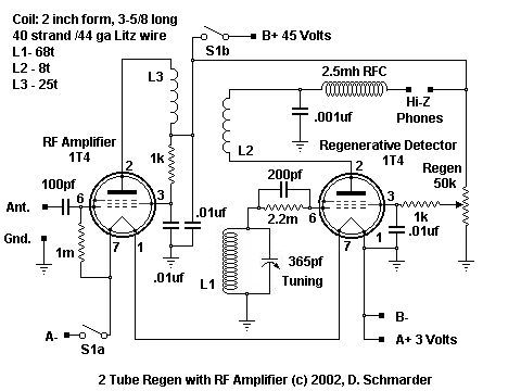 radio schematic of a two tube radio