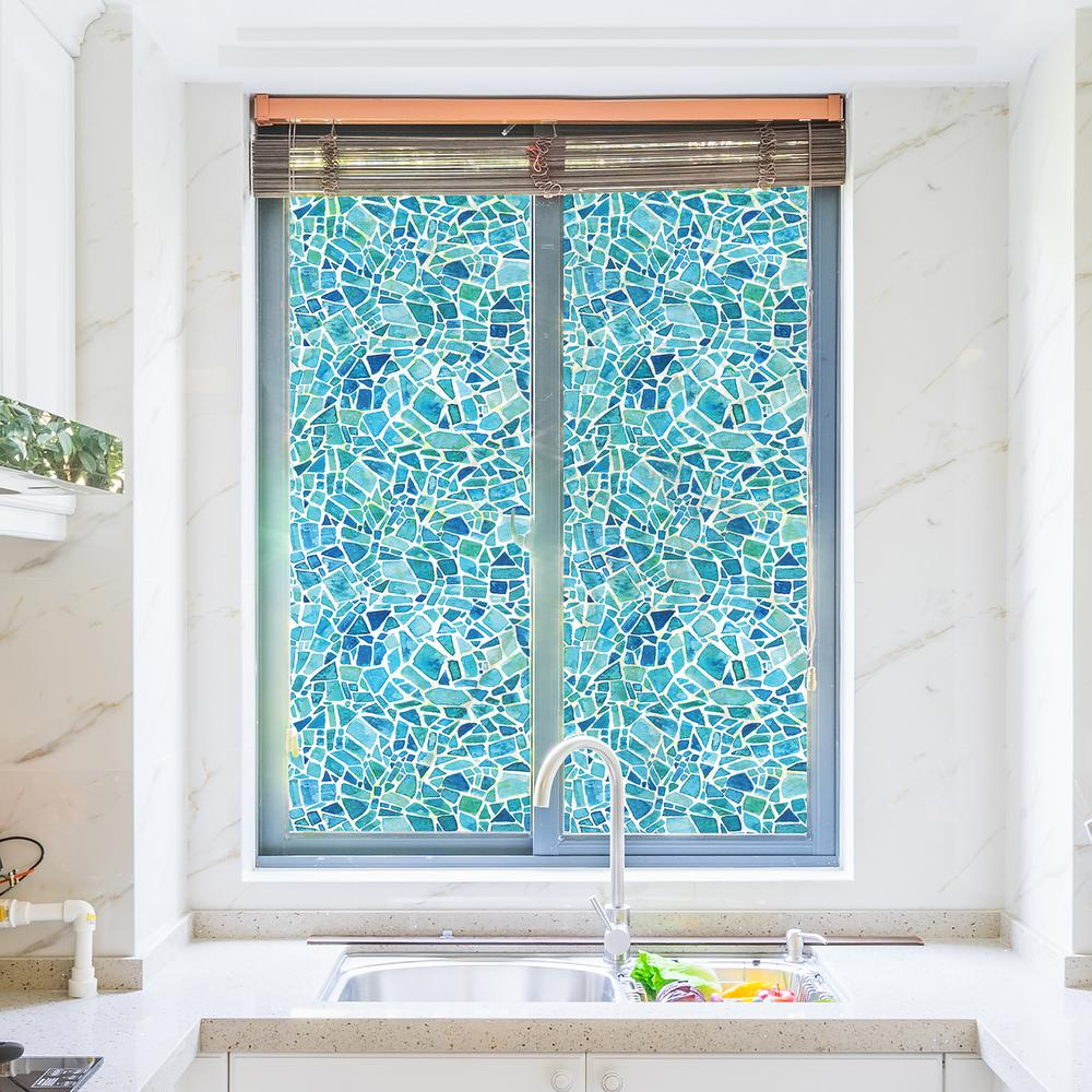 70 86 In X 17 71 In Blue Mosaic Premium Window Film Stained