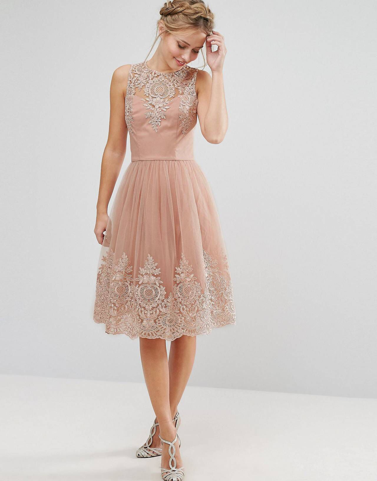 Chi Chi London Premium Lace Midi Dress with Scalloped Back ...