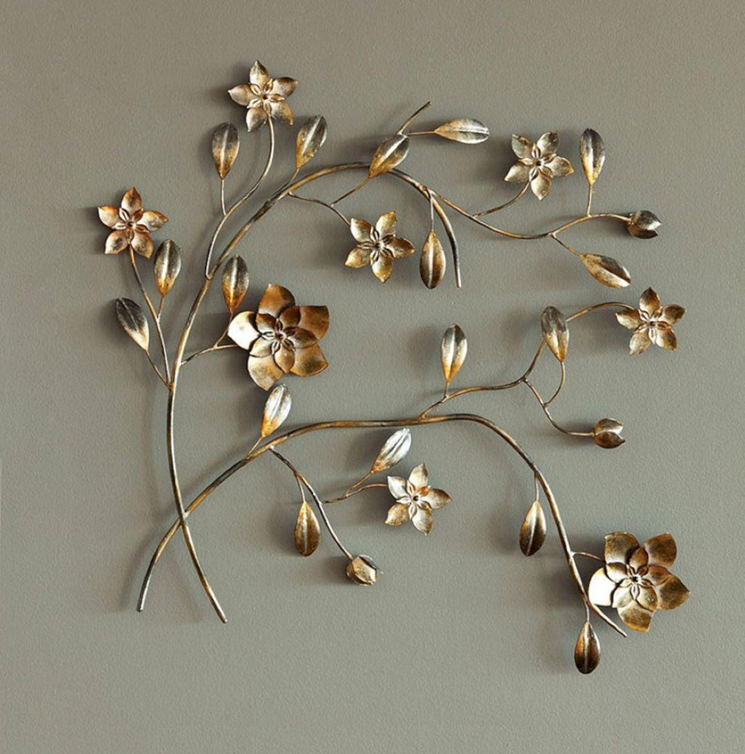 40 Awesome Wall Decoration Ideas You Ll Love Freshouz Com Silver Metal Wall Art Flower Wall Decor Wall Decor Design