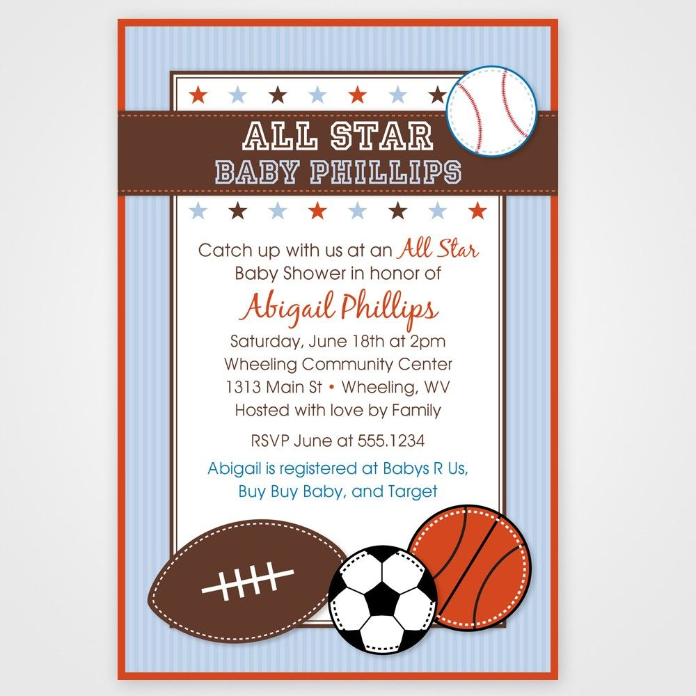 Perfect All Star Sport Printable Baby Shower Invitation    Any Color