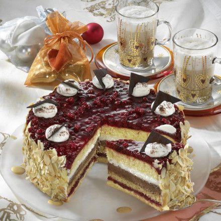 Nougat-Preiselbeer-Torte Rezept