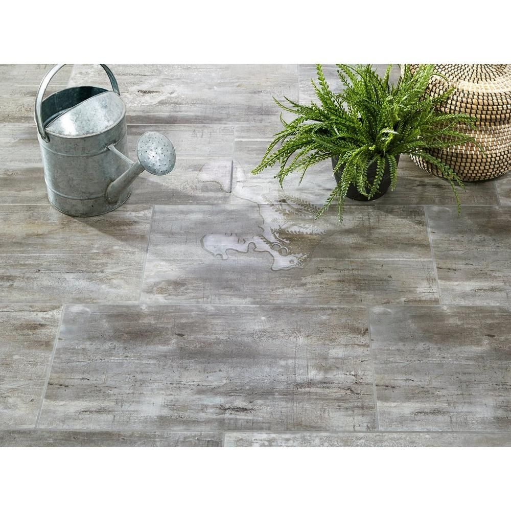 Grey Cork Flooring Kitchen: NuCore Rustic Gray Grouted Style Tile With Cork Back