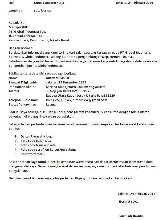 9 Contoh Surat Lamaran Kerja Formal Surat Riwayat Hidup Kerja