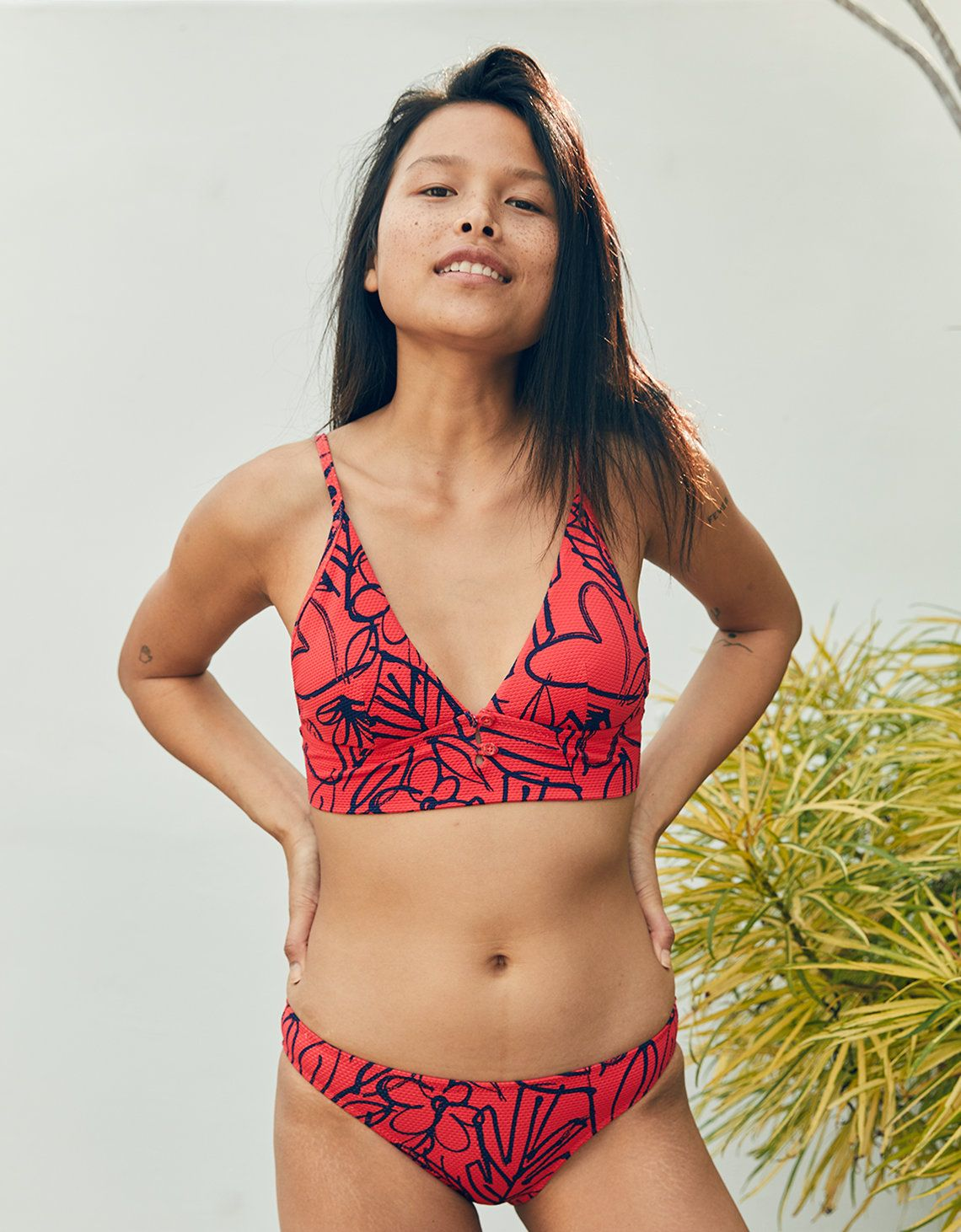5f159ce637d Aerie Pique Longline Triangle Bikini Top, Resort Red | Aerie for American  Eagle