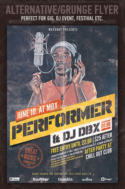 Weekly Featured Alternative Grunge Hip Hop Flyer Template Http