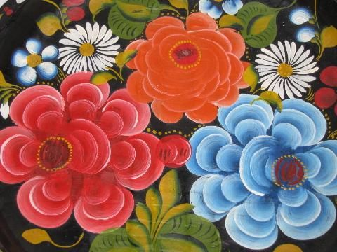 Hand Painted Flowers Http Www Laurelleaffarm Com Item Photos Handpainted Vintage Wood Bowl Mexi Flower Art Painting Mexican Folk Art Painting Flower Painting