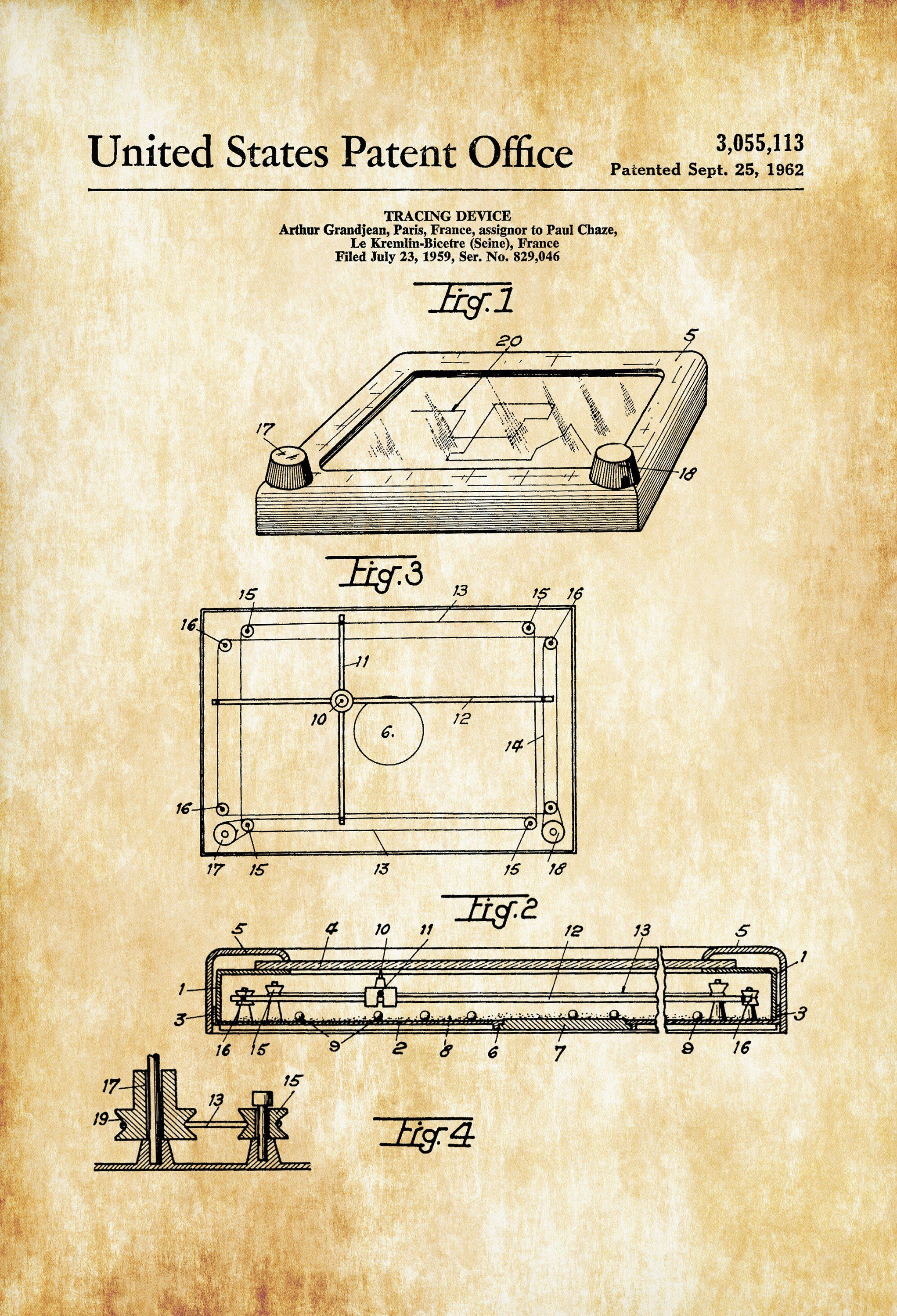 Etch a sketch patent patent print retro toys game room