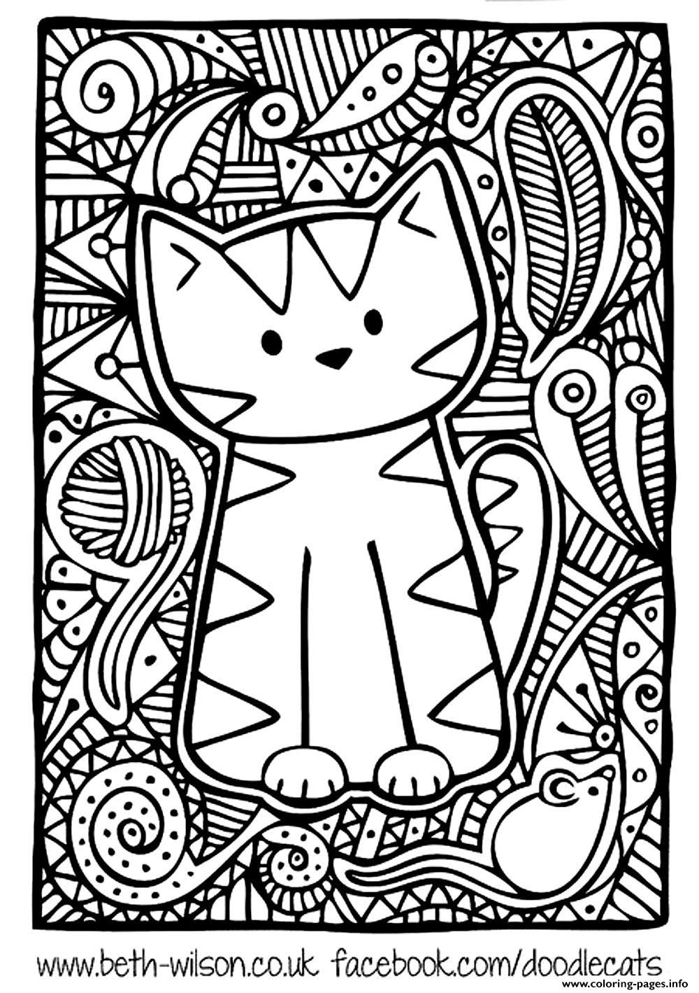 Print Kitten Adult Difficult Cute Cat Coloring Pages With Images