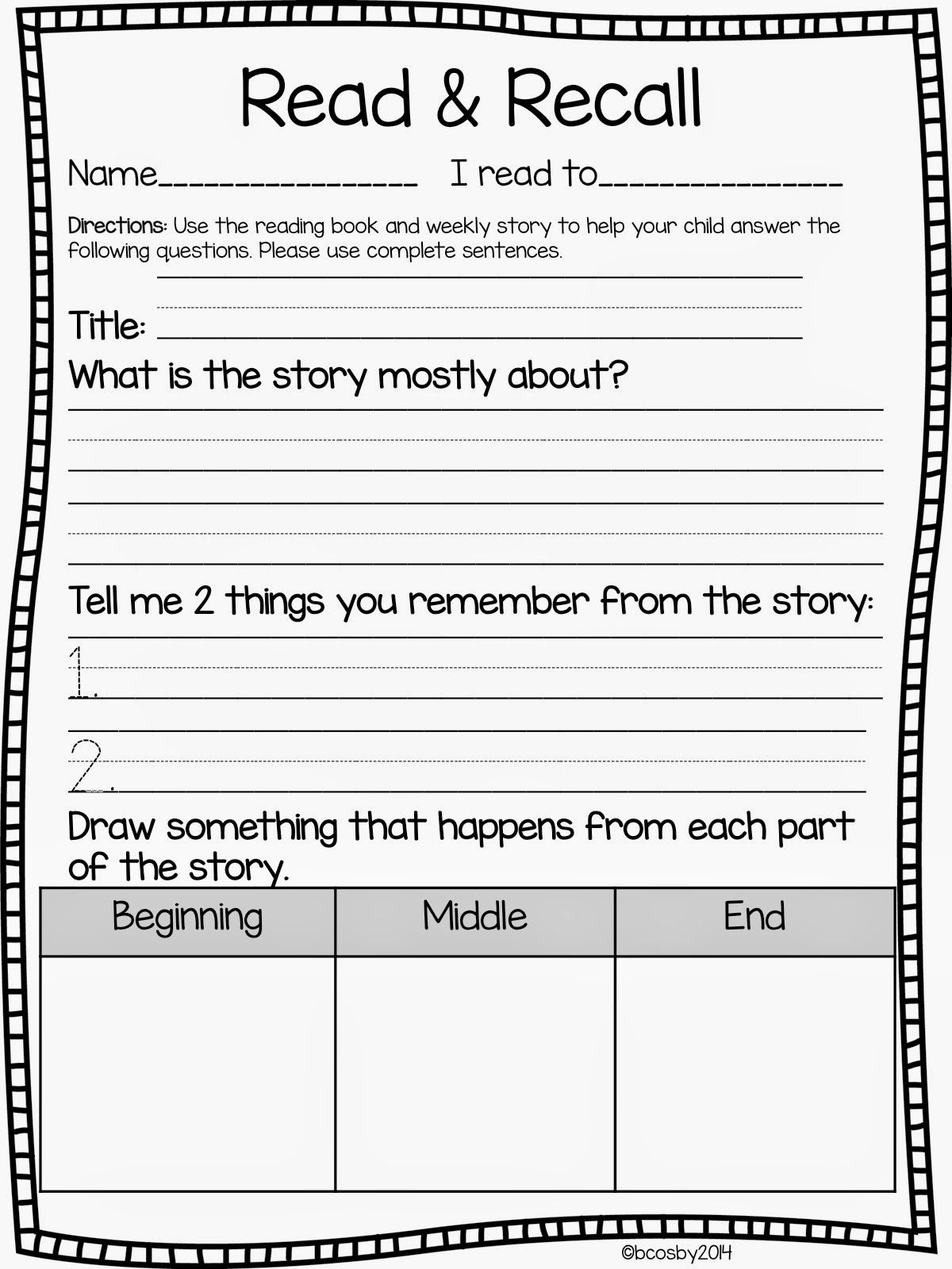 Story Retell Worksheet 2nd Grade   Printable Worksheets and Activities for  Teachers [ 1600 x 1200 Pixel ]