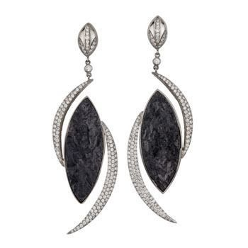 White Gold Dangle Earrings Featuring Rough Black Tourmaline In A Marquise Shape With Round Brilliant Diamonds Set Half Moon Shapes To Accent