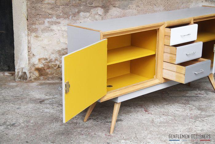 Buffet_enfilade_relooke_gris_jaune   Furniture   Pinterest ...