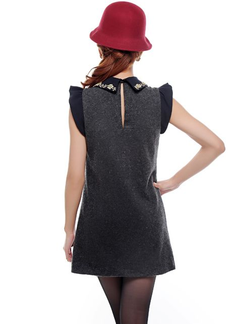 wholesale British Style Peter Pan Collar Butterfly Sleeve Pearl Decoration Collar & Pocket Grey Wool Dress