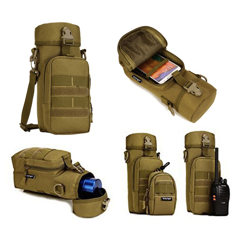 Tactical Molle Water Bottle Pouch Bag Kettle Holder Hunting Camping Hiking Black
