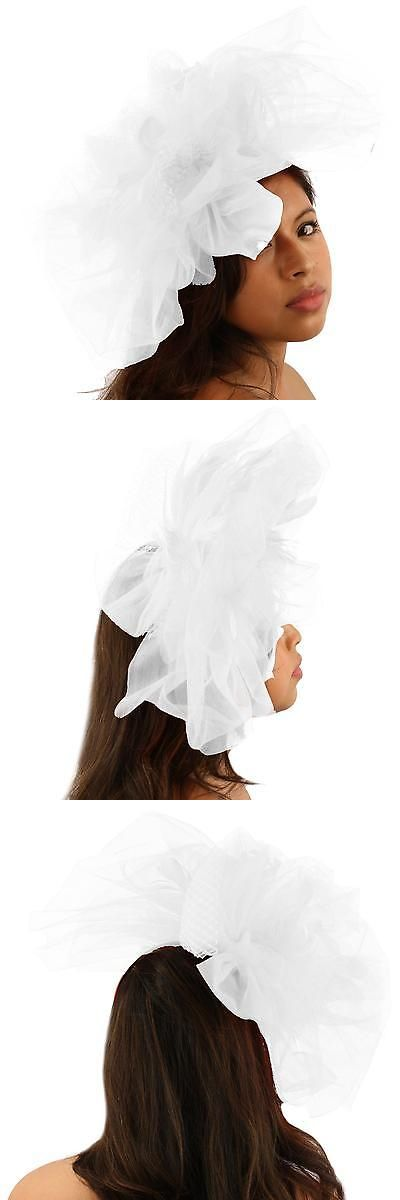 68e25c51c8b13 Fascinators and Headpieces 168998  Big Tulle Mesh Feathers Fishnet Headband  Fascinator Bridal Cocktail Hat White -  BUY IT NOW ONLY   13.31 on  eBay ...