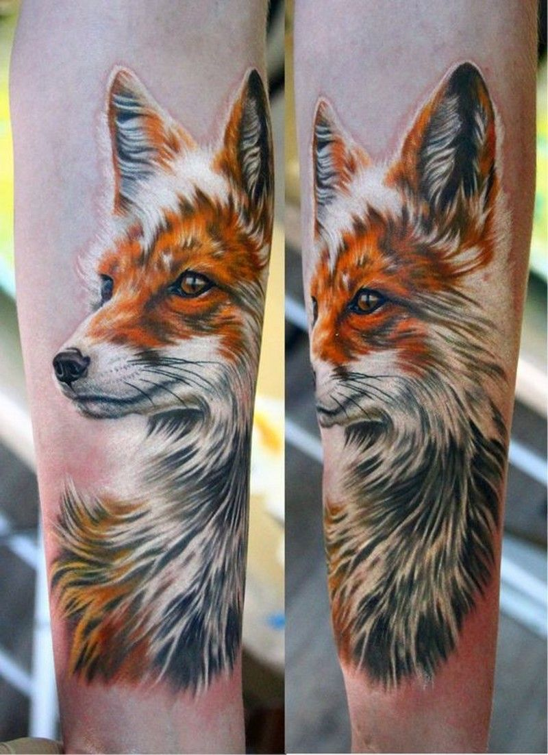 Magnificent Super 3d Realistic Naturally Colored Detailed Fox Tattoo Animal Tattoos Fox Tattoo Fox Tattoo Meaning