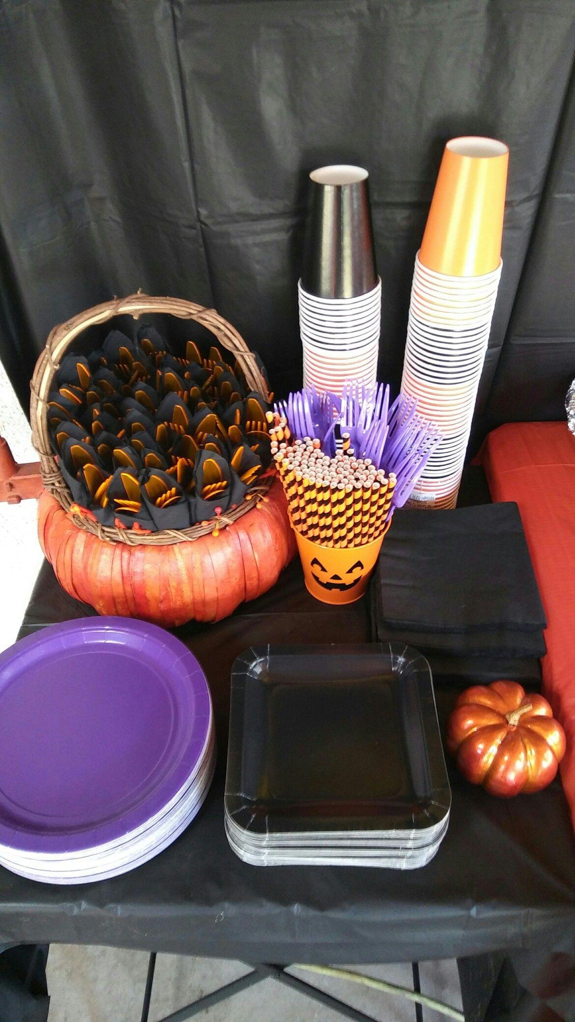 Halloween buffet table - Halloween Party Fall Baby Shower Plasticware Silverware Straws Orange Black Purple Pumpkin Birthday Buffet Table Decor