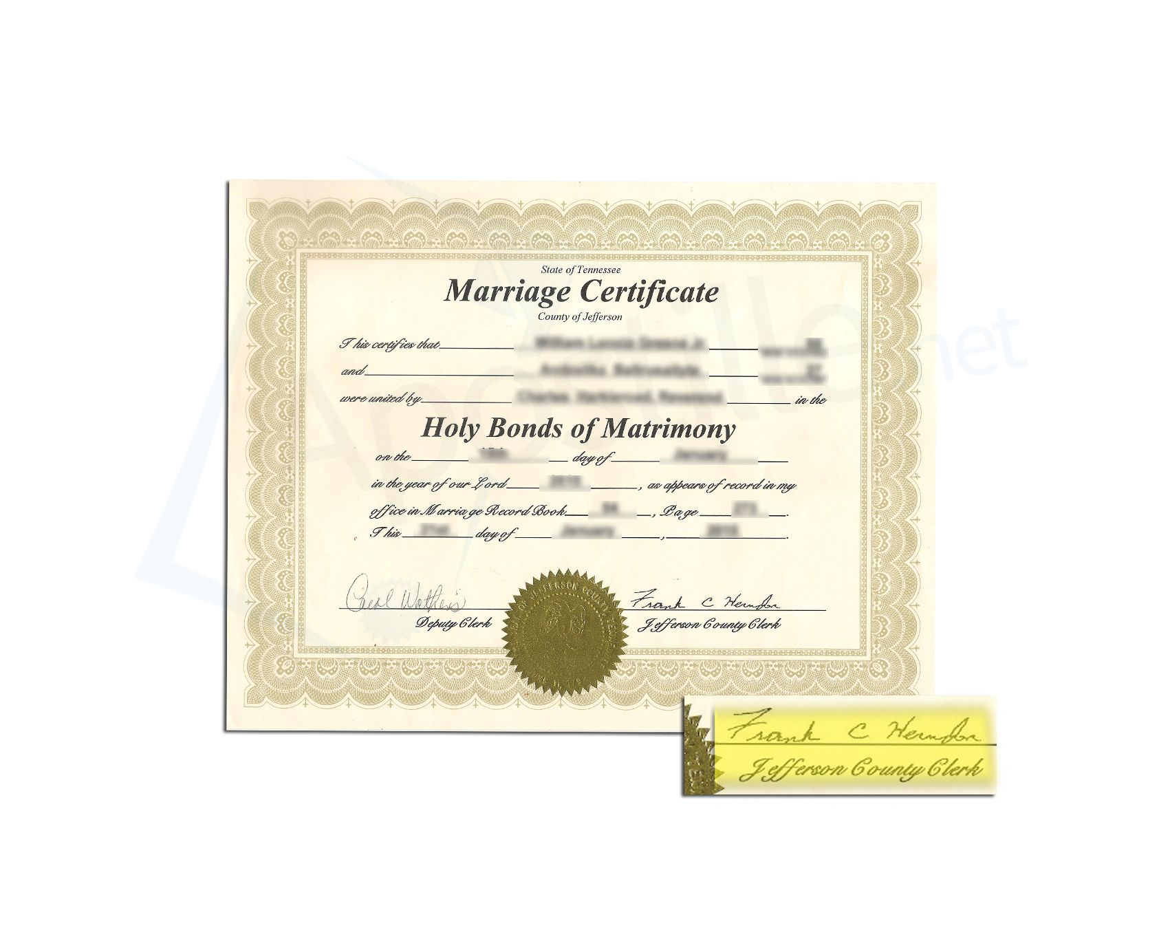 County Of Jefferson State Of Tennessee Marriage Certificate Issued