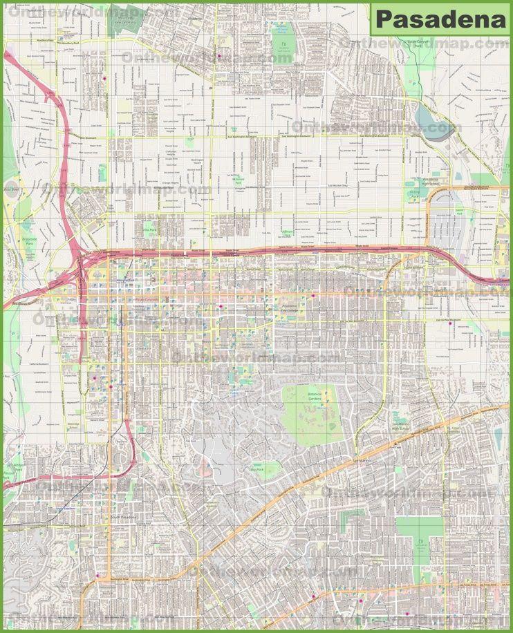 Large detailed map of Pasadena   Map