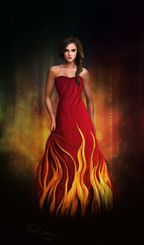 Catching fire burning dress color