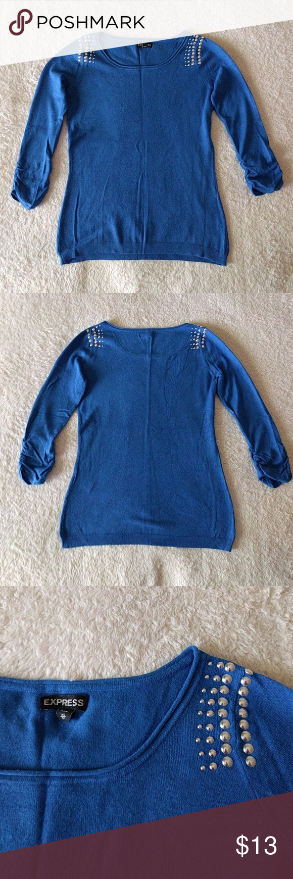 Express Blue Sweater with Embellished Shoulders Express Blue Sweater with Embellished Shoulders and Ruched Sleeves. Size extra small. Used with some light piling. Express Sweaters Crew & Scoop Necks