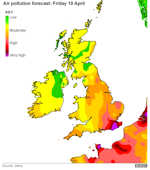 High pollution hits southern England Air pollution